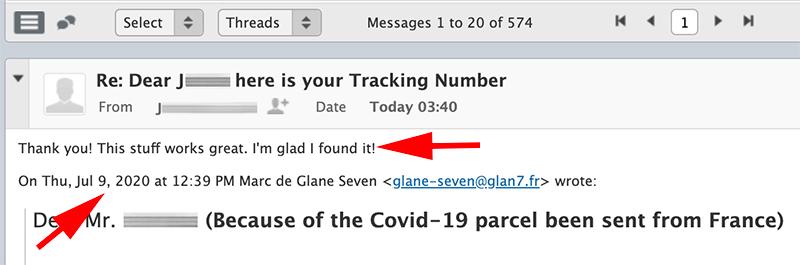 Copie d'ecran email client Glane Seven